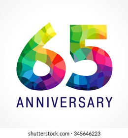 65 years old stained-glass colored logotype. Anniversary numbers 65 th. Shining celebrating congratulating greetings. Sixty five or % off stained facet isolated template.