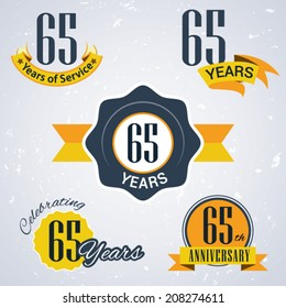 65 years of service/ 65 years / Celebrating 65 years / 65th Anniversary - Set of Retro vector Stamps and Seal for business