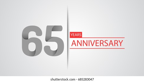 65 Years simple anniversary celebration logo, anniversary for celebration, birthday, wedding and party. Vector design isolated on white background