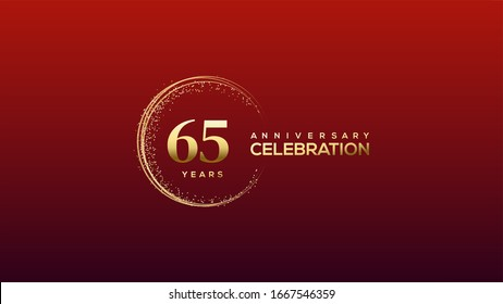 65th Anniversary background with an illustration of gold Colored figures with a circular glitter on a red background.