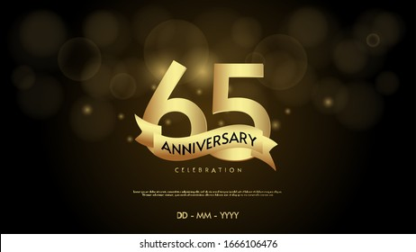 65th anniversary background with illustrations of numbers in a circle with writing on the ribbon.