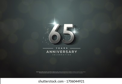 65th anniversary background number illustration with color effects and sparkling light behind.