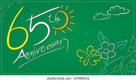 65th Anniversary celebrate illustration design by Real flowers with precious paper cut . For your unique anniversary background, invitation, card, birthday, celebration party of the years
