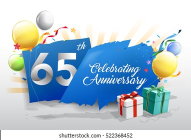 65th anniversary celebration with colorful confetti and balloon on blue background with shiny elements. design template for your birthday party.