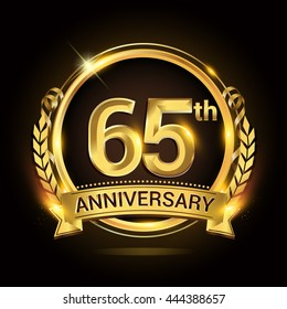 65th anniversary celebration logo with golden ring and ribbon, laurel wreath vector design.
