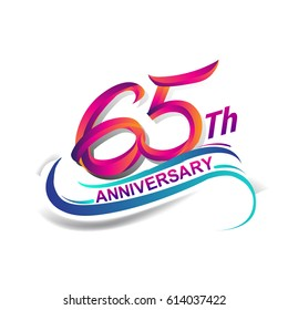 65th anniversary celebration logotype blue and red colored. sixty five years birthday logo on white background.