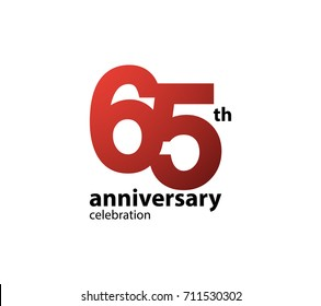 65th anniversary celebration logotype. anniversary logo simple isolated on white background, vector design for celebration, invitation card, and greeting card