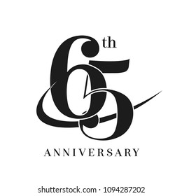 65th Anniversary Celebration simple monogram Design. pictogram vector icon, simple years birthday logo label, black and white stamp isolated