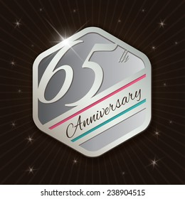 65th Anniversary - Classy and Modern silver emblem / Seal / Badge - vector illustration on  rays and stars background