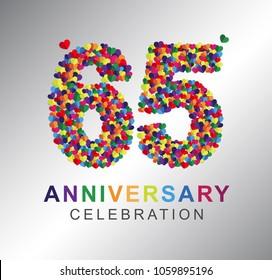 65th anniversary design logotype paper hearts multi-color for celebration.