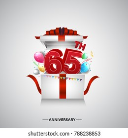 65th anniversary design with red number inside gift box isolated on white background for celebration event