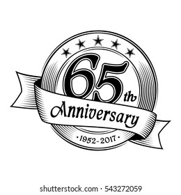 65th Anniversary design template. Vector and illustration.