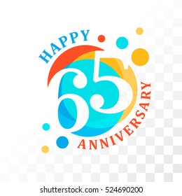 65th Anniversary emblem. Vector  template for birthday and jubilee