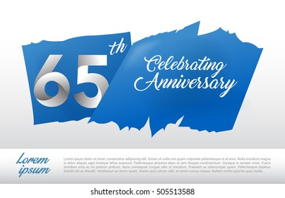 65th anniversary logo with blue abstract backgrond. design template