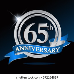 65th anniversary logo with blue ribbon and silver ring, vector template for birthday celebration.