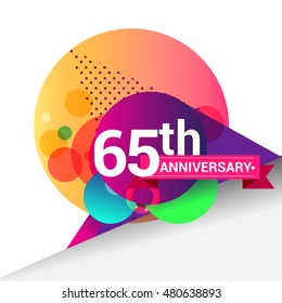 65th Anniversary logo, Colorful geometric background vector design template elements for your birthday celebration.