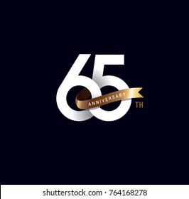 65th anniversary logo with gold ribbon. template design for web, game ,Creative poster, booklet, leaflet, flyer, magazine, invitation card