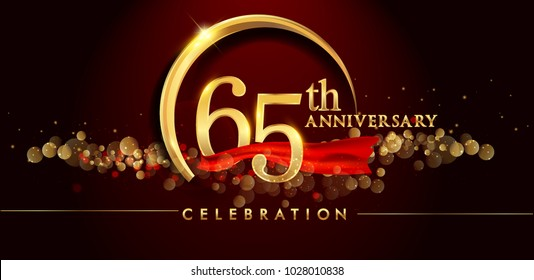 65th anniversary logo with golden ring, confetti and red ribbon isolated on elegant black background, sparkle, vector design for greeting card and invitation card
