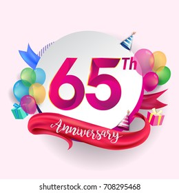 65th Anniversary logo with ribbon, balloon, and gift box isolated on circle object and colorful background