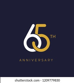 65th anniversary logo.overlapping number with simple monogram color. vector design for greeting card and invitation card.