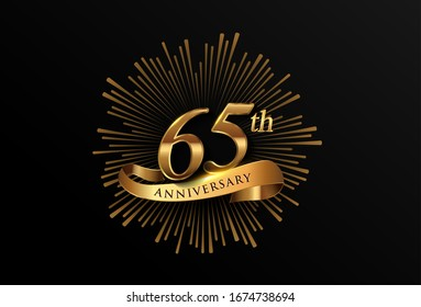 65th anniversary logotype with fireworks and golden ribbon, isolated on elegant background. vector anniversary for celebration, invitation card, and greeting card.