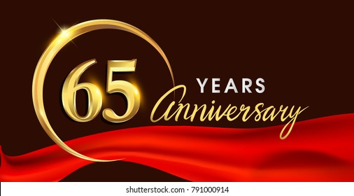 65th anniversary logotype with golden ring isolated on red ribbon elegant background, vector design for birthday celebration, greeting card and invitation card.