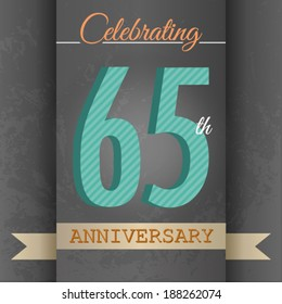 65th Anniversary poster / template design in retro style - Vector Background