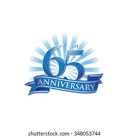 65th anniversary ribbon logo with blue rays of light
