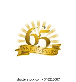 65th anniversary ribbon logo with golden rays of light