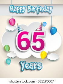 65th birthday Celebration Design, with clouds and balloons. Design greeting card and invitation for the celebration party of sixty five years anniversary