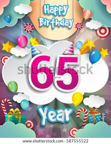 65th Birthday Celebration Greeting Card Design With Clouds And Balloons Vector Elements For The