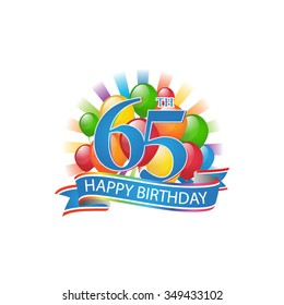 65th colorful happy birthday logo with balloons and burst of light