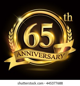 65th golden anniversary logo with ring and ribbon, laurel wreath design.