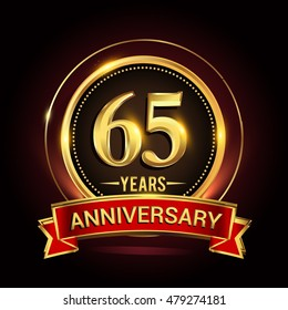 65th golden anniversary logo with ring and red ribbon. Vector design template elements for your birthday celebration.