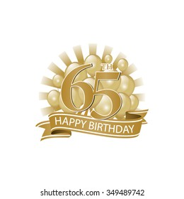 65th golden happy birthday logo with balloons and burst of light