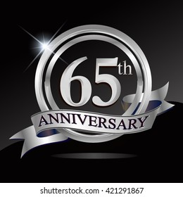 65th silver anniversary logo with ring and ribbon. Vector design template elements for your birthday celebration.