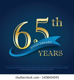 65th years anniversary celebration emblem. anniversary elegance golden logo with blue ribbon on dark blue background, vector illustration template design for celebration greeting and invitation card