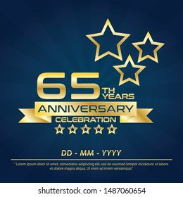 65th years anniversary celebration emblem ,anniversary logo with elegance golden and star design for web, game, creative poster, booklet, leaflet, flyer, magazine, greeting card and invitation card