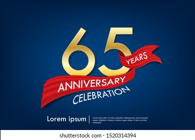 65th years anniversary celebration emblem. anniversary elegance golden logo with red ribbon on dark blue background, vector illustration template design for celebration greeting and invitation card