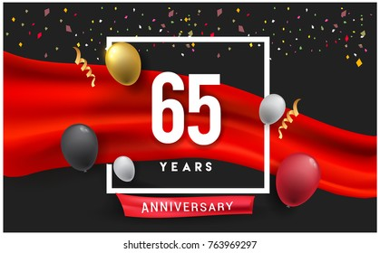 65th years Anniversary celebration logo, isolated on red ribbon and balloon, vector elements for banner, invitation card and birthday party.