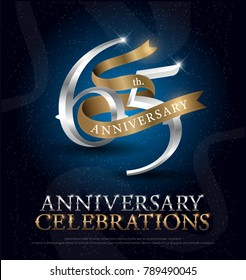 65th years anniversary celebration silver and gold logo with golden ribbon on dark blue background. vector illustrator