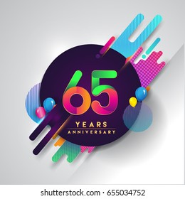 65th years Anniversary logo with colorful abstract background, vector design template elements for invitation card and poster your birthday celebration.