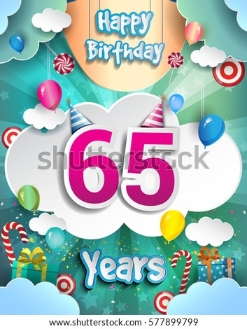 65th Years Birthday Design For Greeting Cards And Poster With Clouds Gift Box