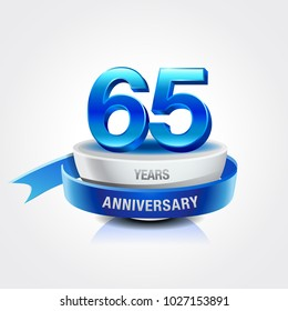 65th years blue anniversary logo celebration with ring and ribbon.