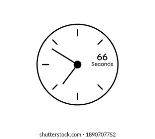 66 seconds Countdown modern Timer icon. Stopwatch and time measurement image isolated on white background