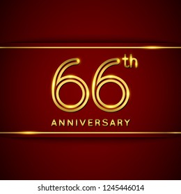 66 / Sixty Six Years Anniversary Logo with Shiny Golden Number on Red Background Isolated. 66th Celebration Event. Can Use for Poster, Invitation and Greeting Card. Easily Editable Vector.