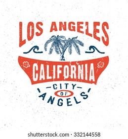67 CITY OF ANGELS LOS ANGELES CALIFORNIA. Handmade Palms trees retro style. Design fashion apparel textured print. T shirt graphic vintage grunge vector illustration badge label logo template.