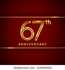 67 Sixty Seven Years Anniversary Logo with Shiny Golden Number on Red Background Isolated. 67th Celebration Event. Can Use for Poster, Invitation and Greeting Card. Easily Editable Vector.