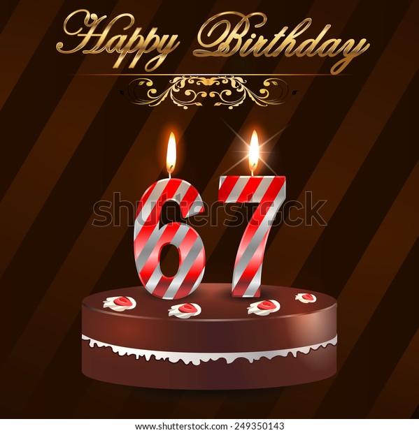 Excellent 67 Year Happy Birthday Card Cake Stock Vector Royalty Free 249350143 Funny Birthday Cards Online Necthendildamsfinfo