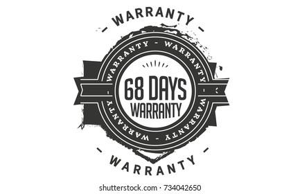 68 days warranty icon vintage rubber stamp guarantee